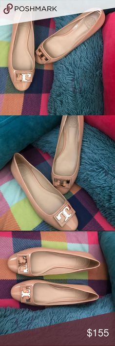 """Gorgeous TORY BURCH FLATS BRAND NEW NEVER WORN These tan patent leather flats with gold """"T"""" emblem are absolutely beautiful. They are brand new I just got them last week and I am selling them because I want black ones. They are perfect for Spring and will go great with a pair of jeans, a dress, shorts, or slacks! I don't have the box they came in, my 3 year old son turned it into his toy box! ☺️ Scammers beware I record the packaging & shipping process  🚭 smoke free home 🚭  Follow like and…"""