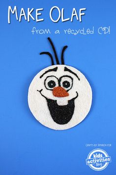 Recycled CD Olaf Craft It's been happening for weeks, Olaf crafts are popping up everywhere! In fact, Frozen crafts have been hitting the Internet like wildfire lately, and all Recycled Crafts Kids, Cd Crafts, Snowman Crafts, Fun Crafts For Kids, Activities For Kids, Arts And Crafts, Craft Kids, Olaf Snowman, Olaf Craft