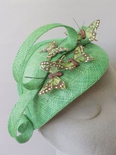 Green Butterfly Fascinator Cocktail Hat. Sinamay by SophieShields