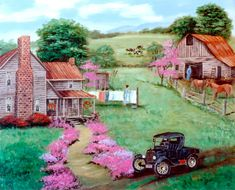 Country Memories Model A T Car Horse Clothes Line Barn Cows Pink Trees Old House Flowers Fence Summer Green Folk Art Landscape Arie Taylor by jagartist on Etsy