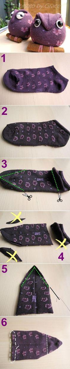 Bricolez de beaux hiboux avec des petites chaussettes! Le modèle le plus simple à confectionner! - Trucs et Bricolages