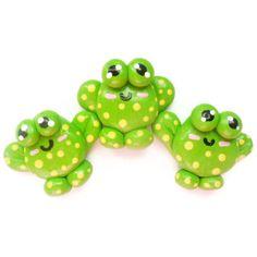 Polymer Clay Kawaii Frog Magnets 3pc, $9.0