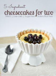 Healthy 5 Ingredient Cheesecakes for Two. THM S : Lowcarb, Sugar free, Gluten free, Gf and Nut free) Trim Healthy Recipes, Trim Healthy Momma, Cheesecake Recipes, Low Carb Recipes, Dessert Recipes, Healthy Cheesecake, Sugar Free Cheesecake Recipe Stevia, Ketogenic Recipes, Healthy Alternatives