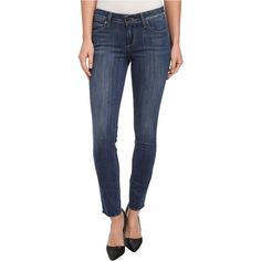 Paige Verdugo Ankle w/ Raw Hem in Orson Women's Jeans, Blue ($115) ❤ liked on Polyvore featuring jeans, blue, ankle zipper jeans, stretch jeans, stretch skinny jeans, mid rise skinny jeans and stretchy jeans