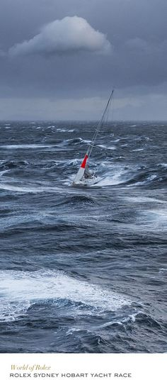 2013 Rolex Sydney Hobart Yacht Race. This is what heavy weather sailing looks like. Sails reduced to a hankerchief sized storm sail. This, as opposed to a popular photoshopped pin, of a sailboat in huge seas, under full sail leaving no wake. McC
