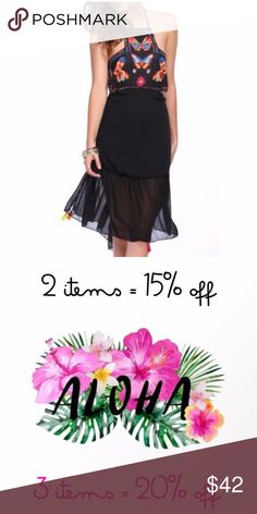 Butterfly Sheer Dress Lovely Butterfly Sheer Halter Midi Dress in black ~ Ruffle Hem and adjustable halter top (ties at neck & back with colorful tassel ties) ~ backless (elastic band above lower back) ~ Size Small: True to size Dresses Midi