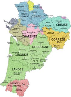 File:Aquitaine-Limousin-Poitou-Charentes et provinces. La Dordogne, Languedoc Roussillon, Limousin, Houses For Sale France, Best Places To Retire, Poitou Charentes, France Map, Alsace, Early Retirement