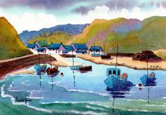 Watercolour Print  Solva Harbour  by Pamelajonesartstudio on Etsy
