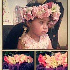 Flower halo made by me for babies first birthday using fresh flowers