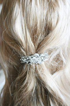 Bridal Wedding Hair Clip Silver Hair Clip Handmade by kimkdep, $29.00