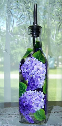 Oil / Vinegar Dispenser Bottle with Hand Painted Lilacs SMALL
