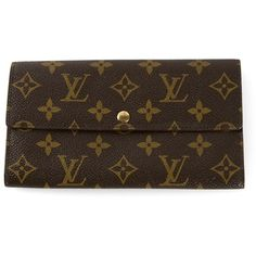 Louis Vuitton Vintage 'Sarah' wallet (14,020 MXN) ❤ liked on Polyvore featuring bags, wallets, brown, vintage leather wallet, pattern wallet, brown leather bag, vintage wallet and brown bag