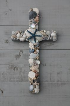 Seashell Wooden Cross/Beach Decor by MyHoneypickles