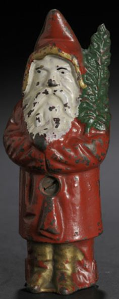 Cast Iron Santa Bank. I have one but all the paint is gone but I love the dark metal look