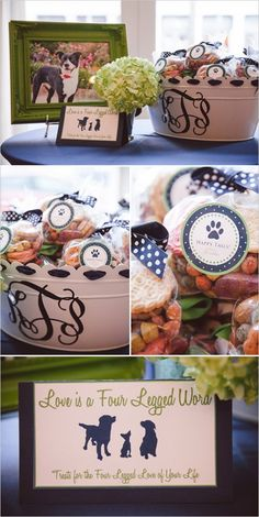 """""""Love is a four legged word. Treats for the four legged love of your life."""" There are so many great ways to include your dog on your wedding day!"""