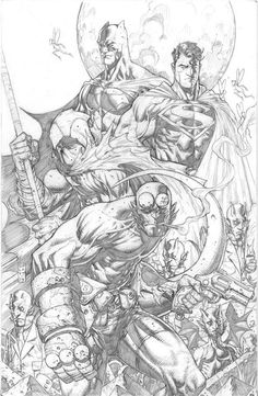 Hellboy, Moon Knight, Superman, and Batman by Stephen Platt