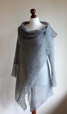 sweater wrap in grey  mohair made to order.  via Etsy.