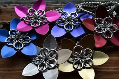 New to AthenasArmoury on Etsy: Scale Maille Flower Pendant Necklace - You Choose the Star Color and Chain (15.00 USD)