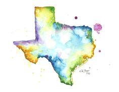 Texas Map 8.5 x 11 Watercolor map print by MilkandHoneybread