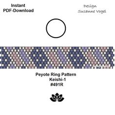DETAILS: 1. Keishi-1 #491R - endless pattern 2. Keishi-2 #491R - adjustable ring length Peyote ring patterns Sizes: 1. 1,2 cm x 6,4 cm / 0.47 x 2.51 - odd count 2. 1,2 cm x 6,2 cm / 0.47 x 2.44 - odd count Beads: Miyuki Delica 11/0 PREVIOUS KNOWLEDGE: Peyote stitch The patterns do