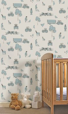 Cluck A Doodle Farm - Cream and Blue from Katie Bourne Interiors