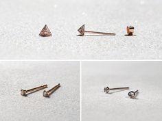 Small Diamond Earrings Trio in Rose Gold, Bezel Diamond Earring, Triangle Earring, Solitaire Diamond Earrings Set for Multiple Piercings Minimalist Earrings, Minimalist Jewelry, Earring Crafts, Diamond Studs, Diamond Earrings, Rose Gold, Gift Guide, Jewels, Diamond Stud