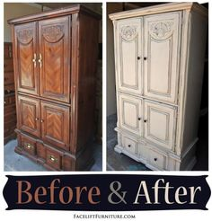 Clothing Armoire given a new life in distressed Off White & Tobacco Glaze - Before & After from Facelift Furniture