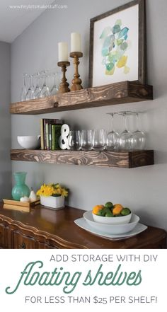 Feel like your dining room is lacking space? Check out this dining room storage idea! It includes a dining room storage with floating shelves, diy, organizing, shelving ideas, storage ideas. Dining Room Storage, Dining Room Walls, Dining Room Design, Shelves In Dining Room, Dining Nook, Dining Table, Dining Decor, Dining Room With Bar, Buffet Table Ideas Decor Dining Rooms