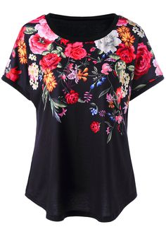 $12.52 3D Printed Floral T-Shirt - Black