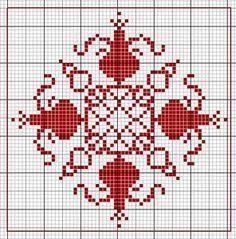 pear biscornu- use partridge button in center cross stitch point de croix