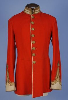 """BRITISH OFFICER'S TUNIC, c. 1900. Red with buttons of The Oxfordshire & Buckinghamshire Light Infantry (1881-1958). It was the """"Ox-Bucks"""" that landed before D-Day in glider planes and secured the bridges for allied troops to advance, their """"Hold until Relieved"""" heroics immortalized in the film """"The Longest Day""""."""
