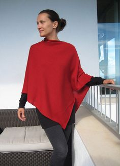 Rojo+Cashmere++&+Silk+Poncho+by+kidcashmere+on+Etsy,+$118.00