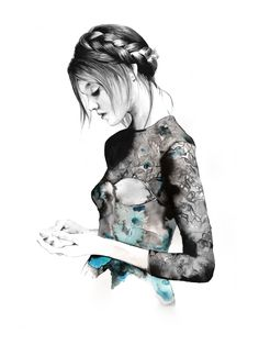 Fashion illustration of a model in a lace dress, pretty fashion drawing // Erin Buckley