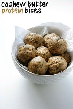 Cashew Butter Protein Bites 16 oz (1 jar) cashew butter 2 scoops vanilla protein powder 1¼ cup old fashioned oats ¼ cup chia seeds 2 tbsp honey Optional: 2 tbsp chocolate chips
