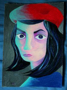 """""""(ragazza di città) con il cappello rosso""""  pencils on cardboard  17×24 cm"""