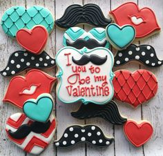 Mustache Valentine cookies by icings by Ang