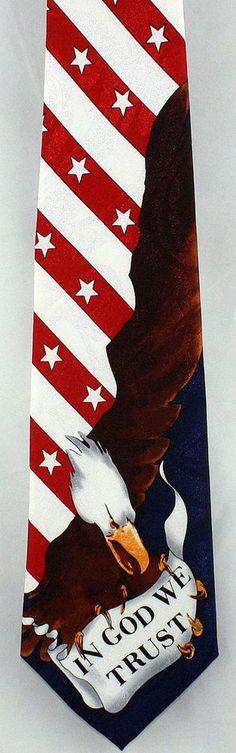 New In God We Trust Mens Necktie US American Flag Bald Eagle Patriotic Neck Tie #StevenHarris #NeckTie