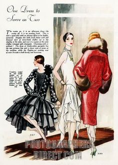 One Dress Serves As Two , 1920s fashion illustration of a versatile outfit , both afternoon dress and evening frock stock photo