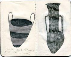"berndwuersching: "" Emma Lewis Pots at the British Museum "" Emma Lewis, Book Art, Collages, Artist Sketchbook, Love Illustration, Sketchbook Inspiration, Color Of Life, Mail Art, Altered Books"