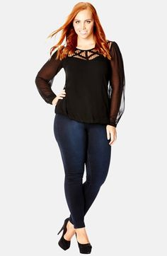 Free shipping and returns on City Chic 'Dark Lace' Sheer Sleeve Top (Plus Size) at Nordstrom.com. A lattice-trimmed lace yoke and sheer chiffon sleeves bring romantic drama to an easy jewel-neck top gently bloused by an elasticized hem.