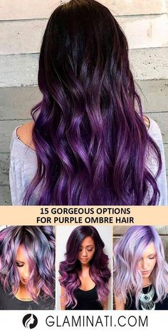 Are you daring enough for purple ombre hair? You don't have to go for all-out dramatic deep purple and fluorescent pink style. There are some soft and subtle options, such as lilac or lavender. In fact, there are plenty of options for purple ombre! Deep Purple Hair, Brown Ombre Hair, Lilac Hair, Hair Color Purple, New Hair Colors, Black To Purple Ombre, Pink Purple, Undercolor Hair, Purple Balayage