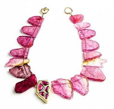 Raw tourmaline slice necklace - Kara Ross. Normally I don't do stones, but this I could make an exception for.