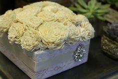 balsa wood boquet in lace box with rhinestone