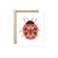 Insect Note Cards Ladybug Beetle Blank Greeting by augustandoak