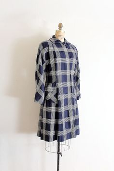 Blue plaid wool coat c. 1940s