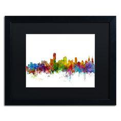 Adelaide Australia Skyline II by Michael Tompsett Framed Graphic Art in Black