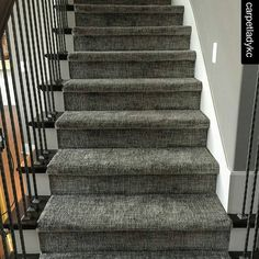Love this texture on the stairs! | Runner & Area Rug Inspiration | Gray Patterned Carpet | Texture | Interior Design | Stair Envy