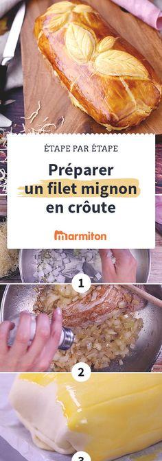Une des recettes les plus plébiscitées sur Marmiton : le filet mignon de porc en croûte. Une recette délicieuse où la viande est bien au chaud dans une croûte de pâte feuilletée #marmiton #recette #cuisine #filetmignon #porc #pasapas #feuilleté