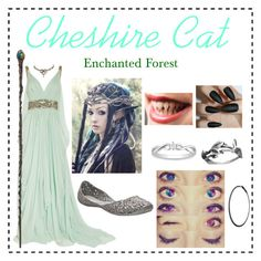 """""""Cheshire Cat_Cathrine Tulgey - Once Upon A Time (ouat) OC"""" by p3ych0tic-fangir1 ❤ liked on Polyvore featuring Marchesa, Melissa, Pearls Before Swine, Miadora, Rubie's Costume Co. and Plukka"""