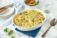 Pasta ovenschotel met ham, champignons en prei A Food, Food And Drink, Risotto, Macaroni And Cheese, Spaghetti, Curry, Dinner Recipes, Brunch, Yummy Food